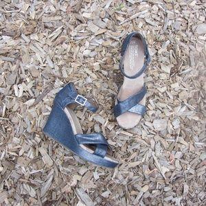 Toms Denim Metallic Wedding Sienna Wedge Sandals